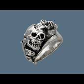Кольцо Череп с кинжалом, серебро
