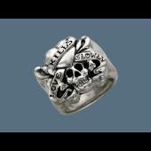 Кольцо Череп и Сердце, серебро