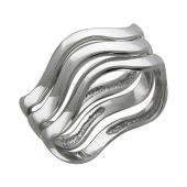 Кольцо Волна широкое тройное, серебро