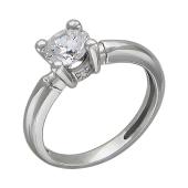 Кольцо на помолвку с одним крупным фианитом и двумя маленькими у основания, серебро