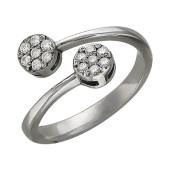 Кольцо с двумя окружностями с фианитами разомкнутое, серебро