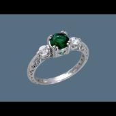 Кольцо с одним зеленым и двумя прозрачными фианитами, серебро