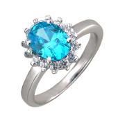 Кольцо Принцесса с голубым и прозрачным фианитами, серебро