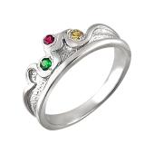 Кольцо Корона с цветными фианитами, серебро