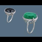 Кольцо с хризопразом, серебро