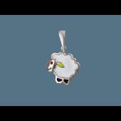 Кулон Барашек (Овечка) с белой эмалью, серебро