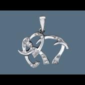 Подвеска Слон с фианитом, серебро