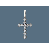 Подвеска крест с фианитами, серебро