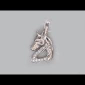 Кулон Лошадь с фианитами, серебро