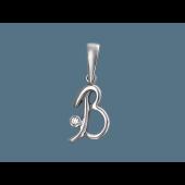 Кулон буква В с фианитом, серебро