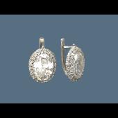 Серьги с горным хрусталем и фианитами из серебра 925 пробы