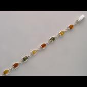 Браслет с молочным, оранжевым и зеленым янтарем, серебро