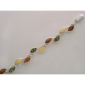 Браслет с желтым, молочным и зеленым янтарем из серебра