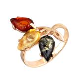 Кольцо с янтарем желтым, молочным и зеленым, серебро с позолотой