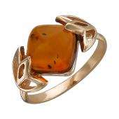 Кольцо с янтарем, серебро с позолотой