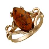 Кольцо с янтарем маркиз, серебро с позолотой