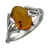 Кольцо с овальным янтарем, серебро
