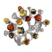 Кольцо Молекула с цветным янтарем, серебро