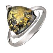 Кольцо с янтарем, серебро