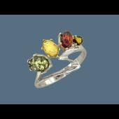 Кольцо с разноцветным янтарем, серебро