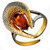 Кольцо разомкнутое с янтарем, серебро