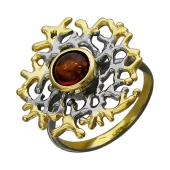 Кольцо Коралловый Риф янтарем, серебро с позолотой и чернением