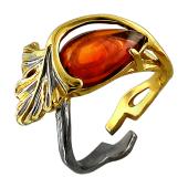 Кольцо с янтарем разомкнутое, серебро с чернением и позолотой