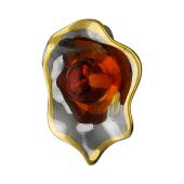 Кулон Раковина с янтарем, серебро с позолотой и чернением