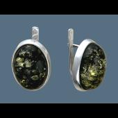 Серьги с овальным зеленым янтарем, серебро