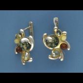 Серьги с янтарем, серебро