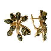 Серьги Пальма с янтарем, серебро с золотым покрытием