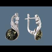 Серьги с зеленым янтарем и цироконом, серебро