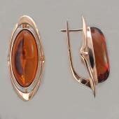 Серьги с овальным янтарем, серебро с позолотой