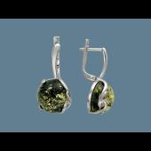 Серьги с зеленым (молочным, желтым) янтарем, серебро