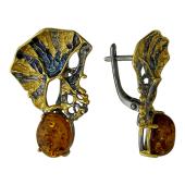 Серьги с янтарем и чернением, серебро с золотым покрытием