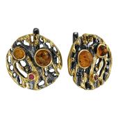 Серьги круглые с янтарем и фианитами, серебро с золотым покрытием и чернением