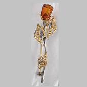 Брошь Роза с янтарем из серебра 925 пробы с позолотой