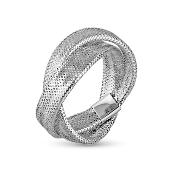 Кольцо двойное Сеточка с обработкой под змеиную кожу, белое золото