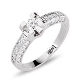 Кольцо с россыпью бриллиантов, белое золото