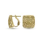 Серьги с алмазными гранями, желтое золото