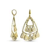 Серьги треугольные с алмазными гранями, желтое золото