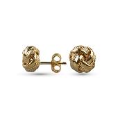 Серьги пусеты Узелок с алмазными гранями, желтое золото