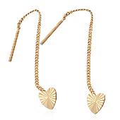 Серьги-продевки Сердечки с алмазной огранкой, красное золото