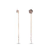 Серьги-продевки Цветок с алмазной огранкой, красное золото