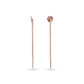 Серьги-продевки Цветок с алмазными гранями, красное золото