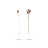 Серьги-продевки Цветок с фианитами, красное золото