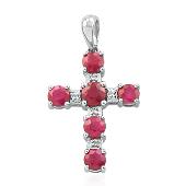 Крест с рубинами и бриллиантами, белое золото