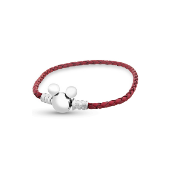 Браслет для шармов Дисней с Микки Маусом кожаный красный, серебро