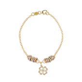 Браслет-цепь с кольцами и подвеской Клевер, красное желтое и белое золото