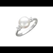 Кольцо с белым жемчугом и бриллиантами, белое золото 750 проба